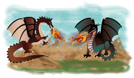 Two fantastic dragons. Vector illustration Stock Photo