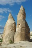 Two Fantastic Stone Pyramides in Cappadocia Royalty Free Stock Image