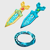Two fantasy sword with runes and magical bracelet Royalty Free Stock Photos