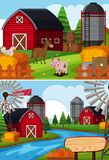 Two farm scenes with animals and barns. Illustration Royalty Free Stock Photo