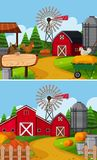 Two farm scenes with barn and animals Royalty Free Stock Photo