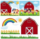 Two farm scenes with red barn and happy children. Illustration Royalty Free Stock Photography
