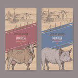 Two farm shop labels with farmhouse, barn, cow and pig. Stock Photography
