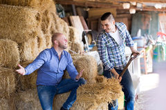 Two farm workers in hayloft Royalty Free Stock Photo