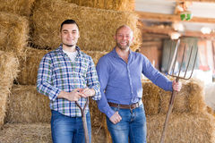 Two farm workers in hayloft Stock Image