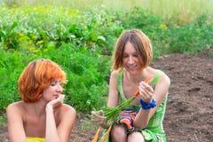 Two farmer woman. Two farmer women on the vegetable garden royalty free stock photos