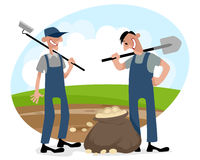 Two farmers on field. Vector illustration of a two farmers on field Royalty Free Stock Images