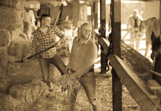 Two farmers with pitchforks Royalty Free Stock Images