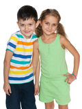 Two fashion children on the white background Royalty Free Stock Photo