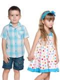 Two fashion children on the white background royalty free stock photos