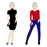 Two fashion females Stock Photos