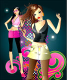 Two fashion girl Stock Photo