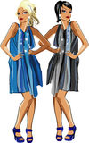Two fashion girls. Illustration of  two beauty  girls on a white background Stock Photography