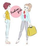 Two fashion girls Stock Image