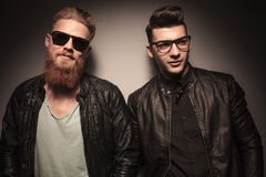 Two fashion guys in leather jacket Royalty Free Stock Photo