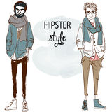 Two fashion hipsters. Fashion sketches young men Royalty Free Stock Photo