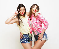 Two fashion laughing painted girl friends hugging and having fun Stock Images