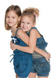 Two fashion little girls Stock Photos
