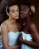 Two fashion model. Two beautiful women of different nationalities. Studio portrait Stock Photos