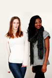 Two fashion models. Two female fashion models in stylish casualwear Royalty Free Stock Photography