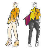 Two Fashion Models Colored Sketch Royalty Free Stock Images