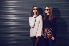 Two fashion models posing Royalty Free Stock Photo