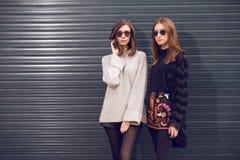 Two fashion models posing royalty free stock photos