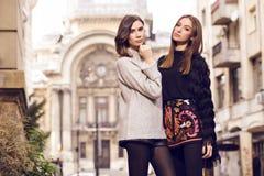 Two fashion models posing Stock Photo