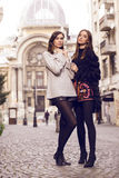 Two fashion models posing Stock Images