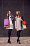 Two fashion models shopping stock image