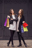 Two fashion models shopping Stock Photography