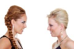Two fashion models talking Royalty Free Stock Image