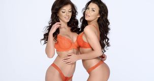 Two fashion models in trendy orange lingerie. Two attractive fashion models with long curly brunette hair posing arm in arm in trendy orange lingerie smiling at stock video footage