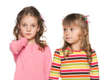 Two fashion preschool girl Stock Photos
