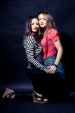 Two fashion sexy girls, vertical portrait Royalty Free Stock Images