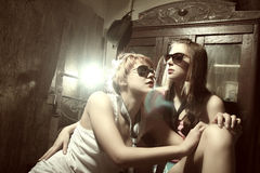 Two fashion sexy women  wearing sunglasses Stock Photo