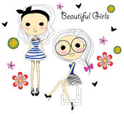 Two fashion sketch girls Royalty Free Stock Photography