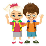 Two fashion small children with backpacks Royalty Free Stock Images
