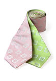 Two fashion ties wrapped together. Green and pink ties wrapped together on white background. Please visit my portfolio for similar pictures Stock Images