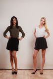 Two fashion women african and caucasian posing Royalty Free Stock Photography
