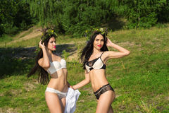 Two fashion women in lingerie Royalty Free Stock Images