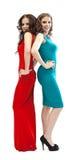 Two fashion women smoky eyes posing on camera Stock Images