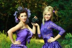 Two fashionable beautiful women Stock Image