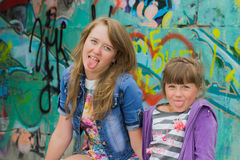 Two fashionable girls Royalty Free Stock Photography