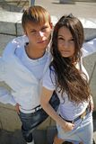 Two fashionable teenagers Royalty Free Stock Images