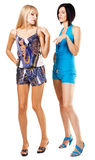 Two fashionable women in colorful clothing. White background Royalty Free Stock Images