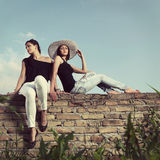 Two fashionable young women Stock Images