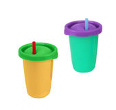Two fast food paper cups with straws Stock Image