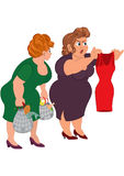 Two fat cartoon women looking on small red dress Royalty Free Stock Photos