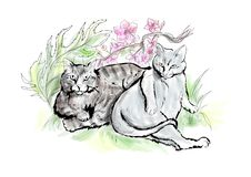 Two fat cats royalty free illustration